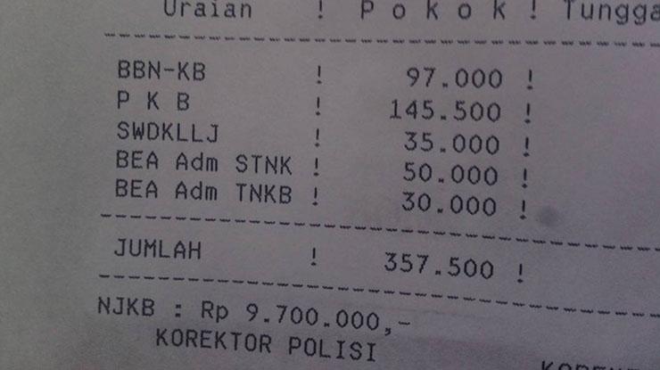 Biaya Balik Nama BPKB Motor