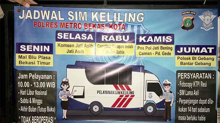 Jadwal SIM Keliling Kota Bekasi