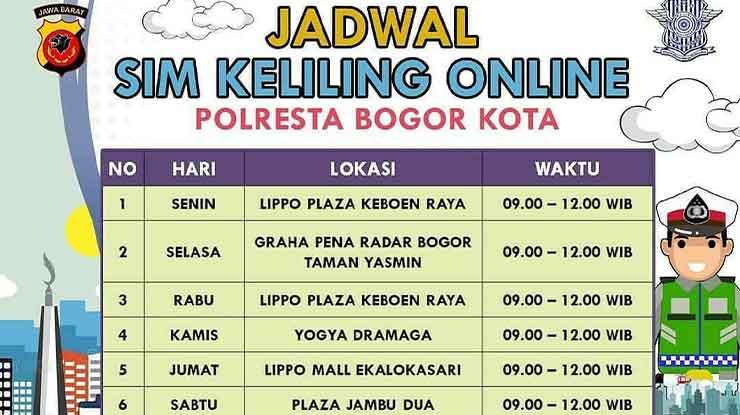 Jadwal SIM Keliling Kota Bogor