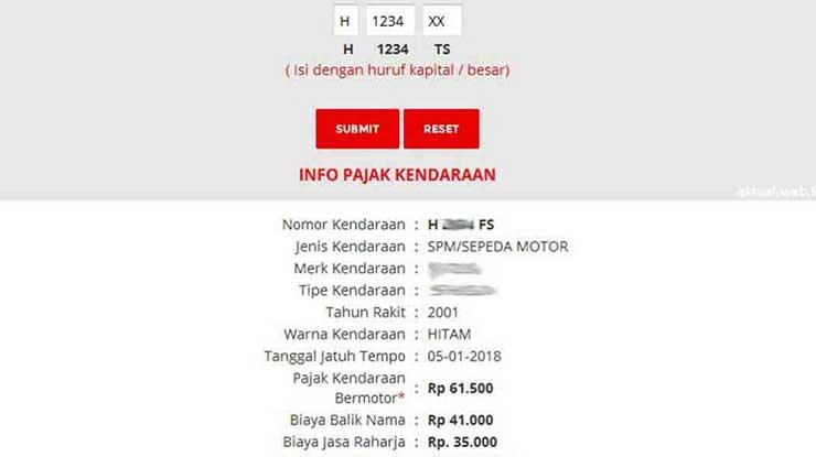 Cek STNK Online Jawa Tengah