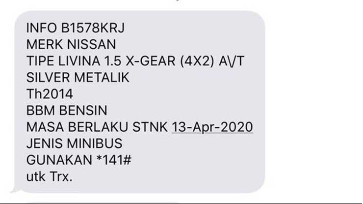 Cek STNK Online via SMS