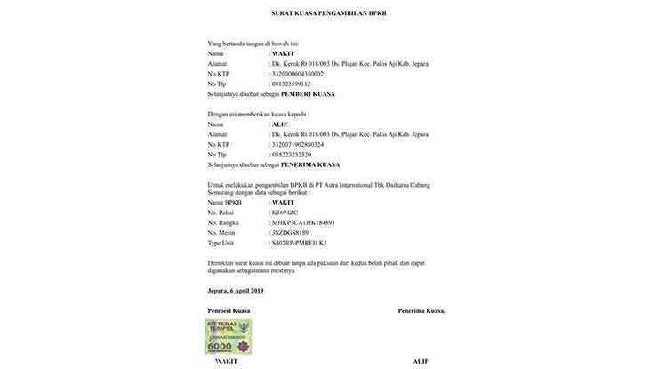 Surat Kuasa Pengambilan Bpkb Motor 2021 Fungsi Syarat