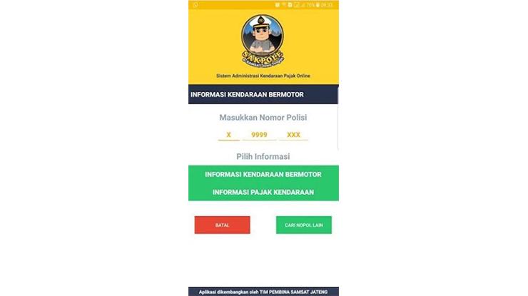 Pilih Menu Informasi Pajak Kendaraan
