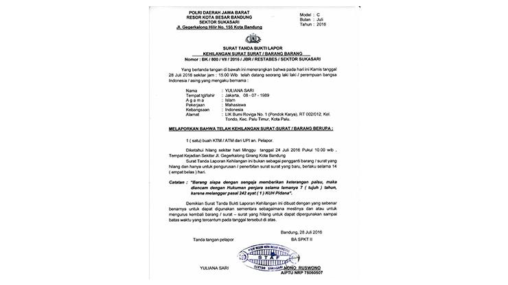 Surat Kehilangan untuk Mengurus BPKB Hilang